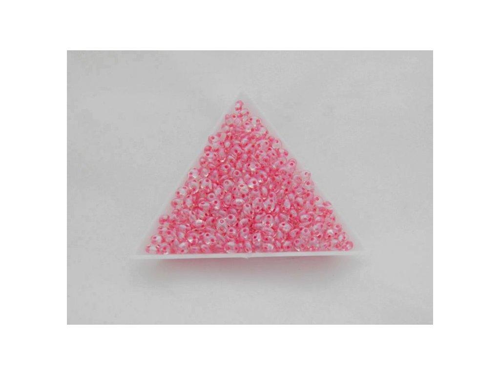 Korálky PRECIOSA Twin™ - krystal s listrem a růžovým průtahem 38698