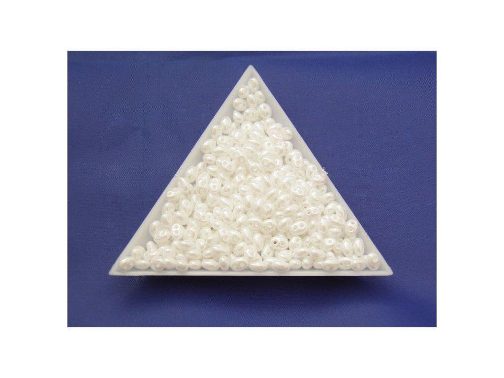 Korálky PRECIOSA Twin™ - perleťově bílý s listrem 46102