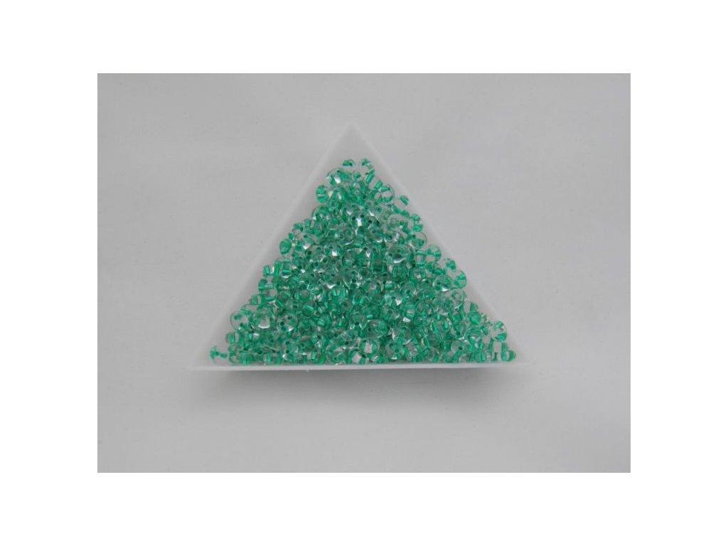 Korálky PRECIOSA Twin™ - krystal se zeleným průtahem 68258