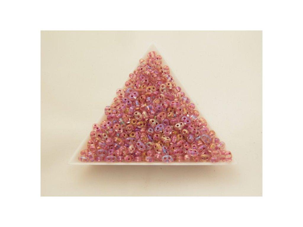 Korálky PRECIOSA Twin™ - růžově duhový s barevným průtahem 68498