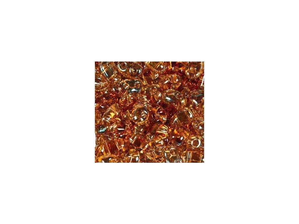 Korálky PRECIOSA Twin™ - krystal s topazovým dekorem 20151