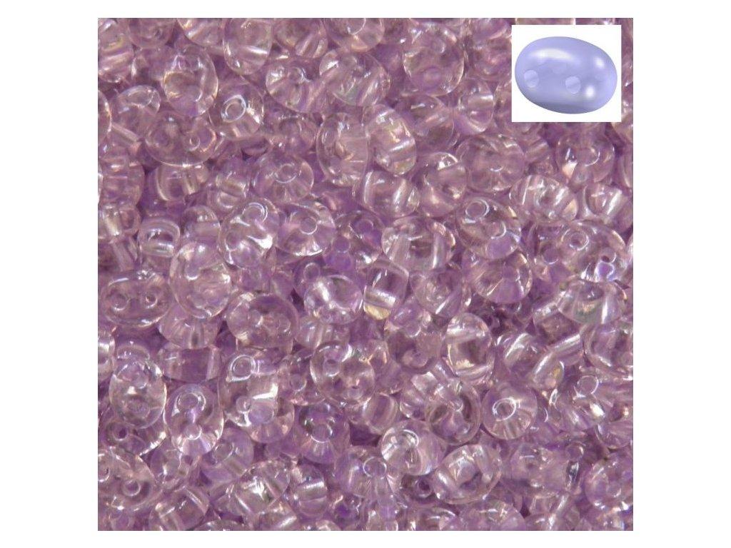 Korálky PRECIOSA Twin™ - krystal se světlým lila průtahem