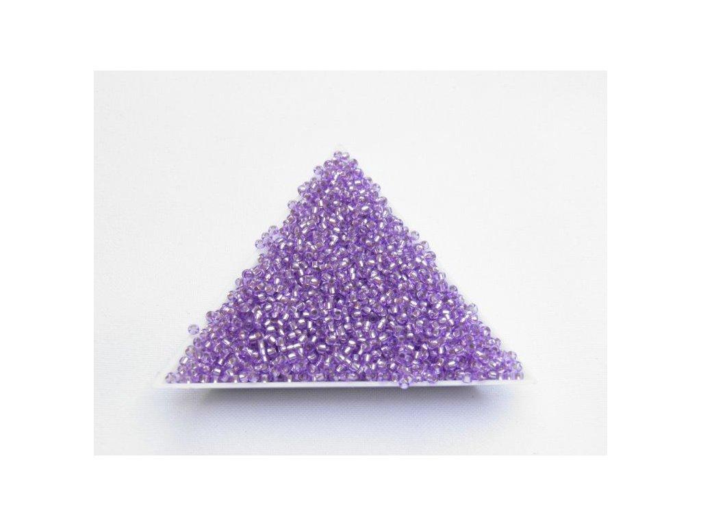 Korálky - rokajlové perličky fialové se stříbrným průtahem 78123 - 9/0