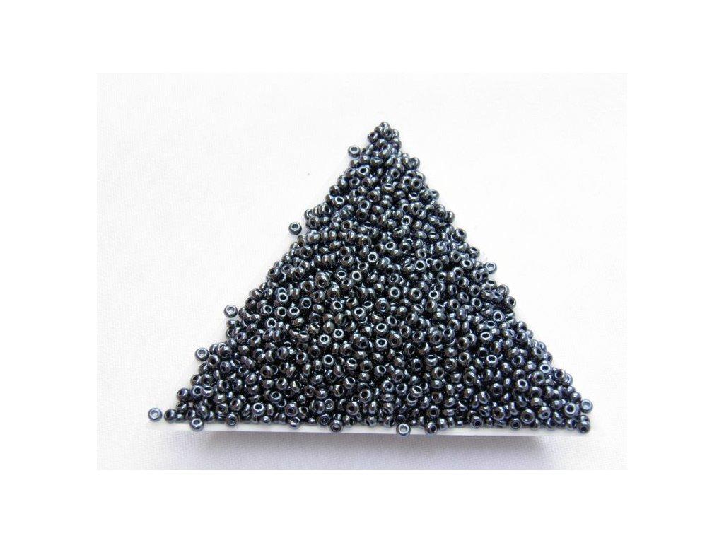Korálky - rokajlové perličky - hematit 49102 - 9/0