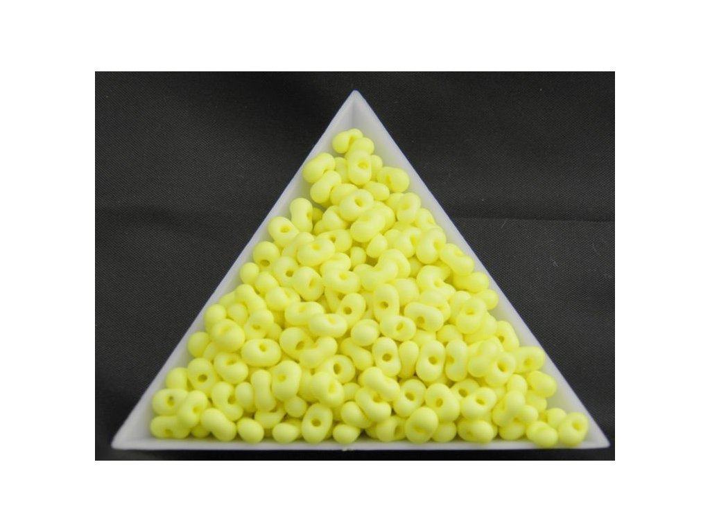 Korálky - farfale NEON - 2 x 4 mm - pastelově žluté 36786