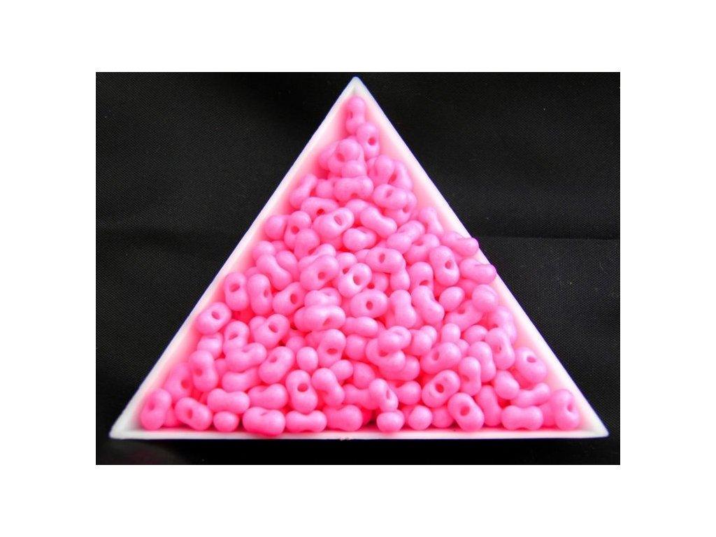 Korálky - farfale NEON - 2 x 4 mm - pastelově růžové 36777