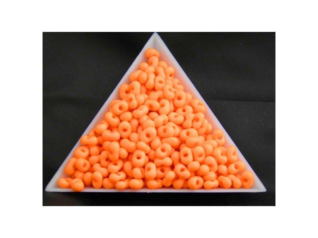 Korálky - farfale NEON - 2 x 4 mm - pastelově oranžové 36789