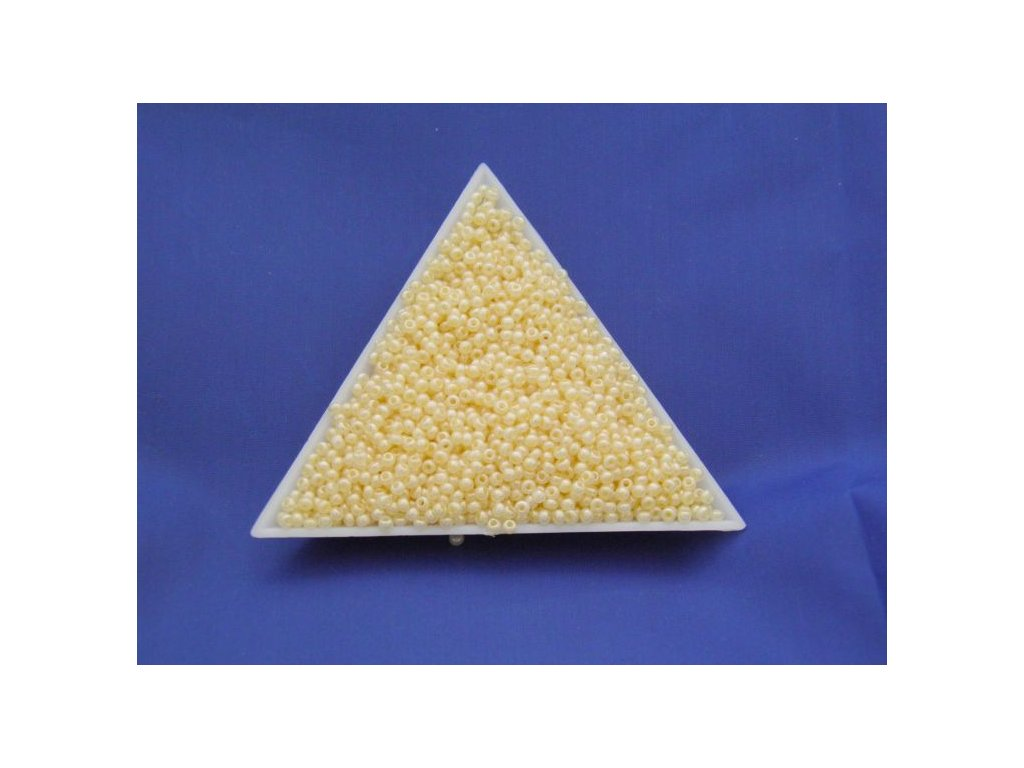 Korálky - rokajlové perličky - žluté s listrem 47113 - 10/0