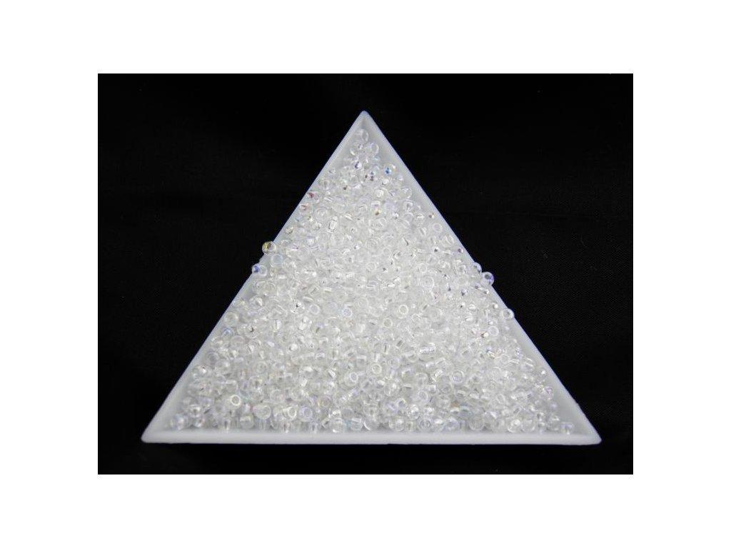 Korálky - rokajlové perličky krystal s AB 58205 - 11/0