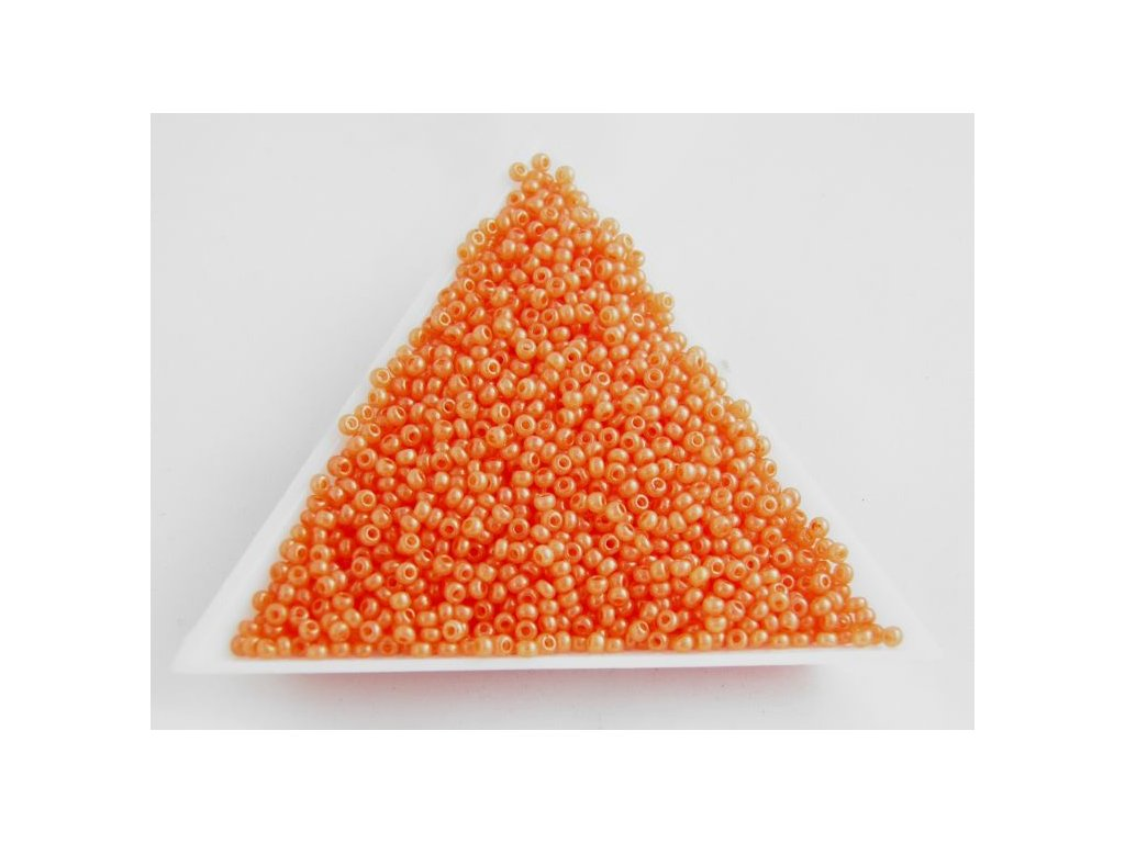 Korálky - rokajlové perličky - oranžové s listrem 17389 - 10/0