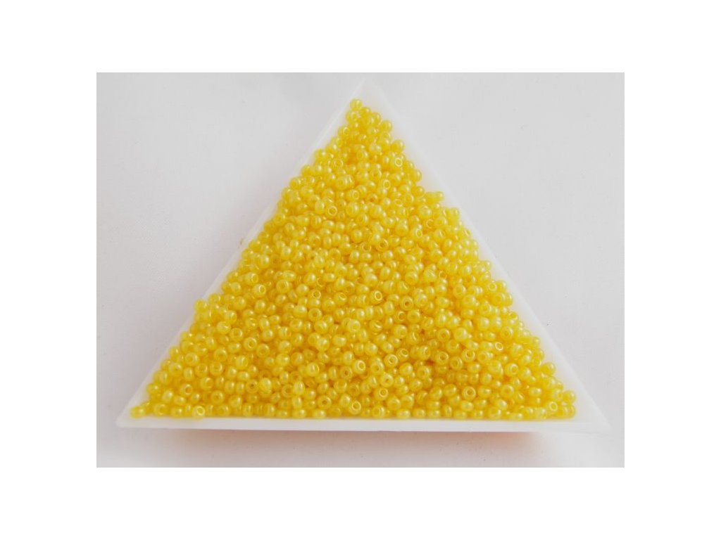 Korálky - rokajlové perličky - žluté s listrem 17386 - 10/0