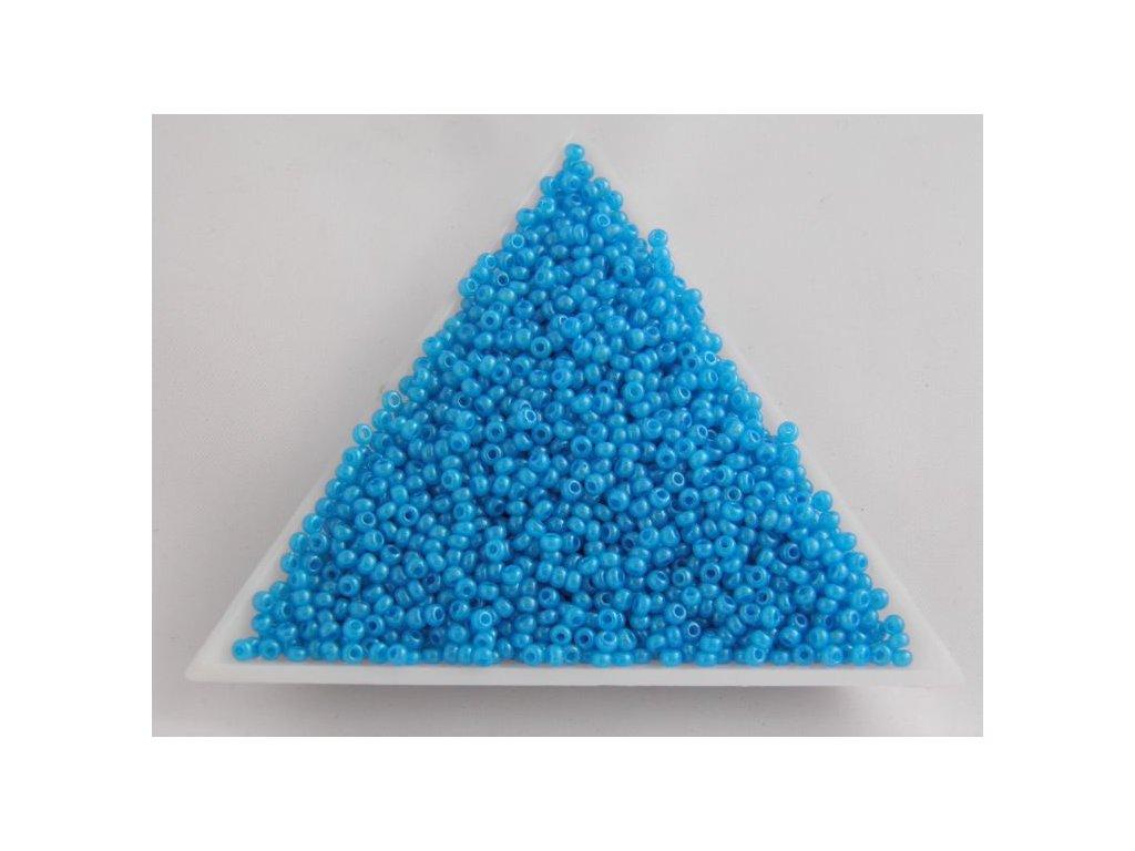 Korálky - rokajlové perličky - modré s listrem 17365 - 11/0