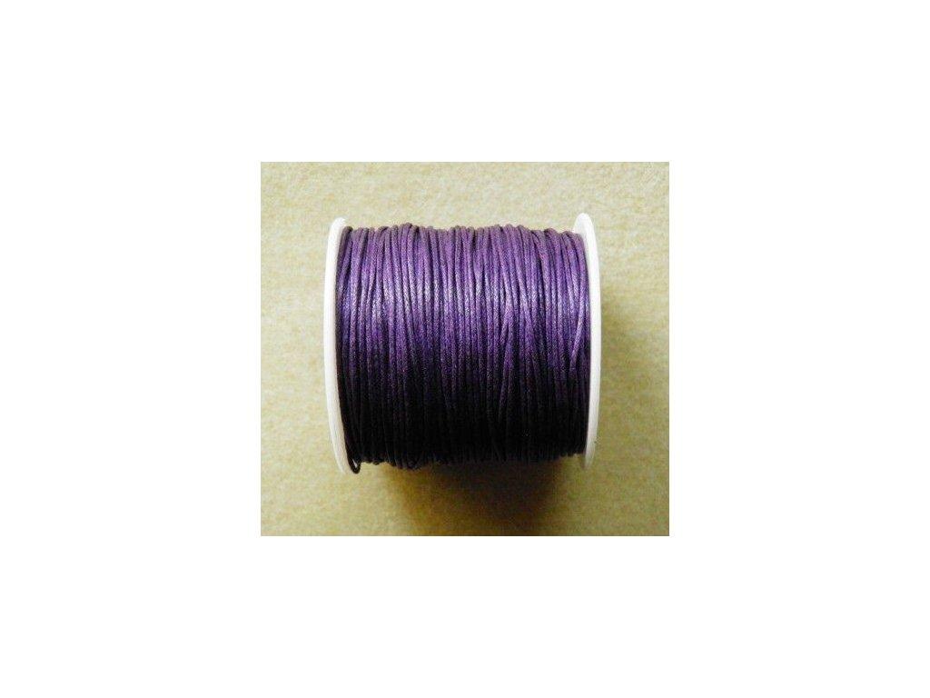 Bavlněná voskovaná šňůrka tmavě fialová