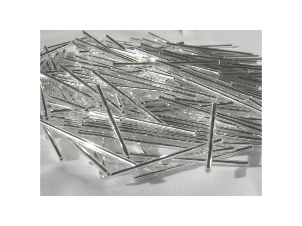 Korálky - rokajlové tyčky 50 mm - stříbrné rovné 78102 (T92)