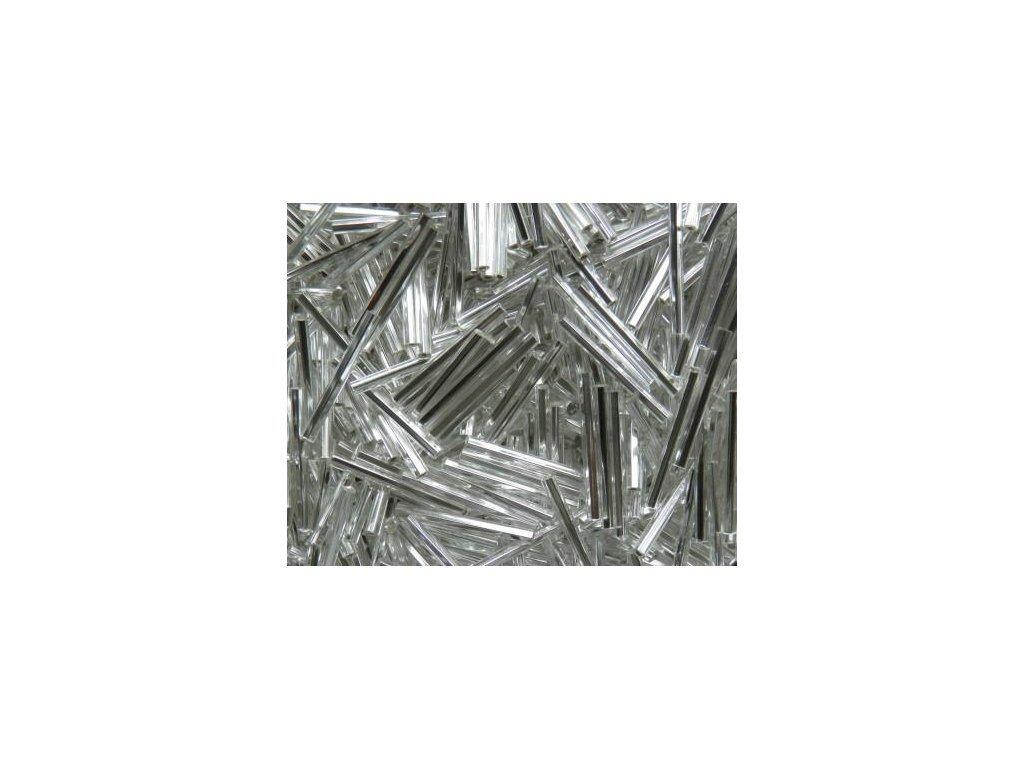 Korálky - rokajlové tyčky 15 mm - stříbrné rovné (T82)
