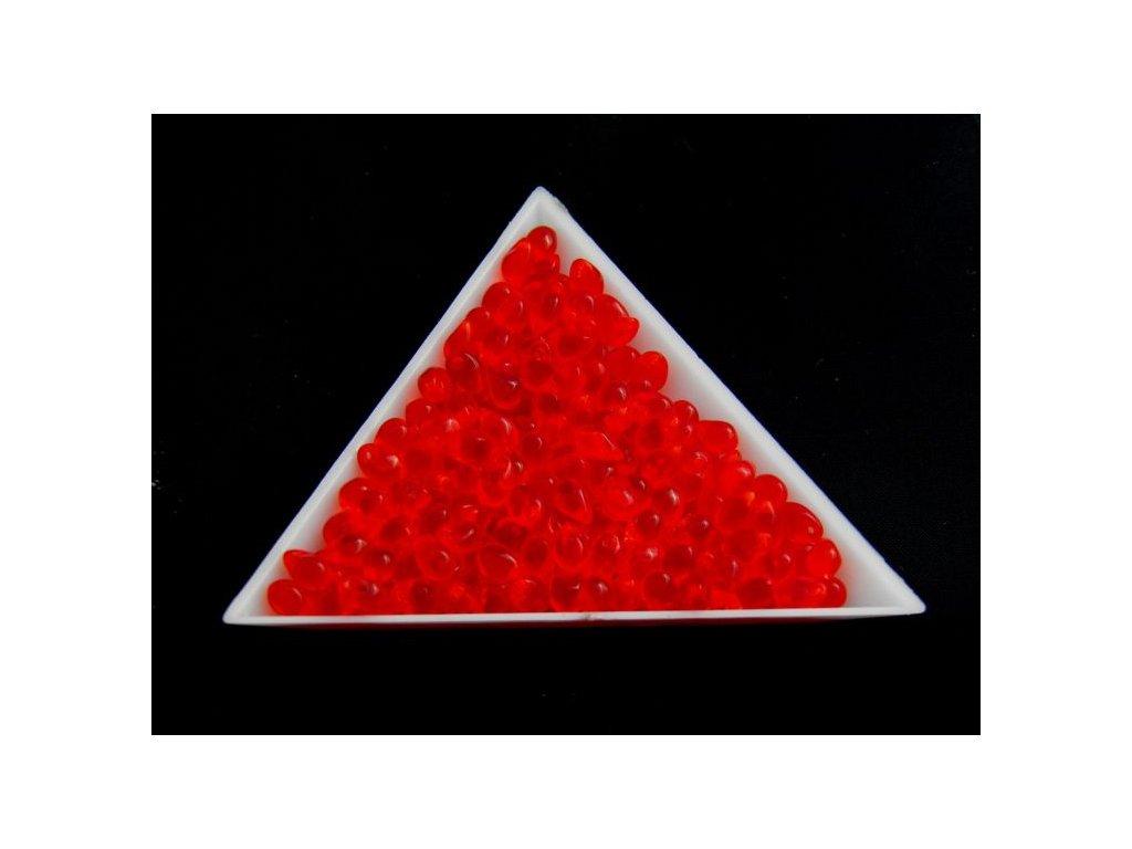 Korálky mačkané - kapka 4/6 mm - 90080 červená