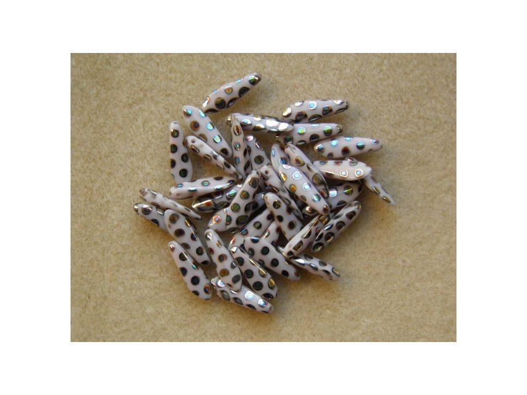 Korálky mačkané - jazýček fialový AB malá očka - 5 mm x 16 mm