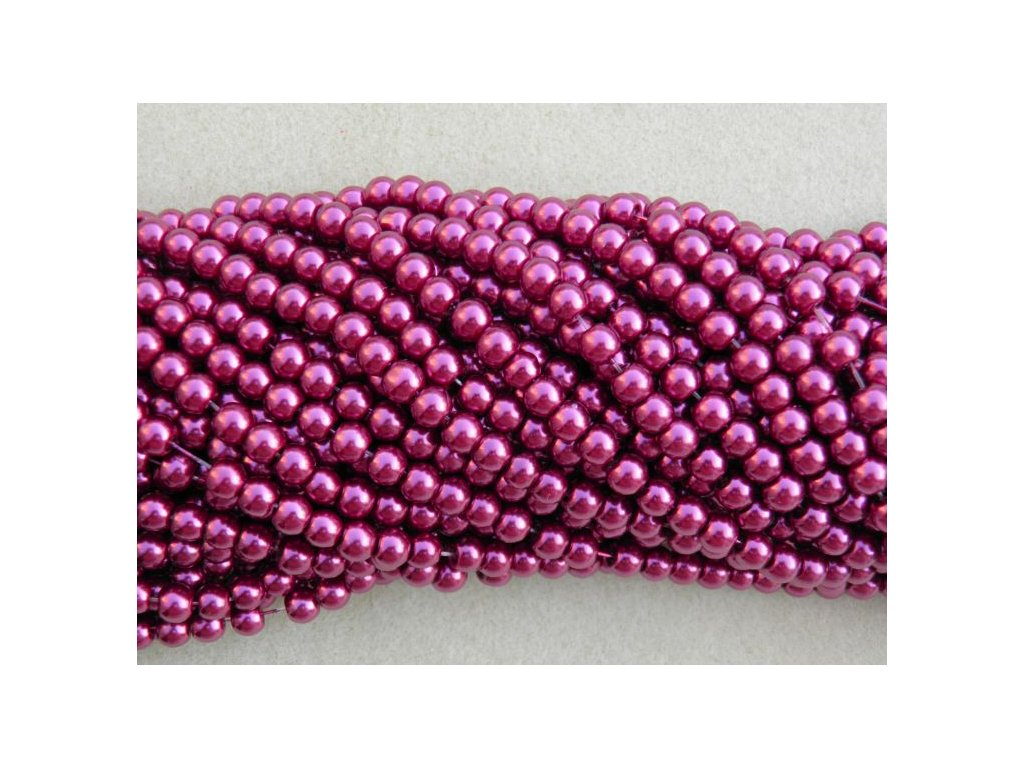 Korálky - voskované perle 6 mm vínová (DOVOZ)