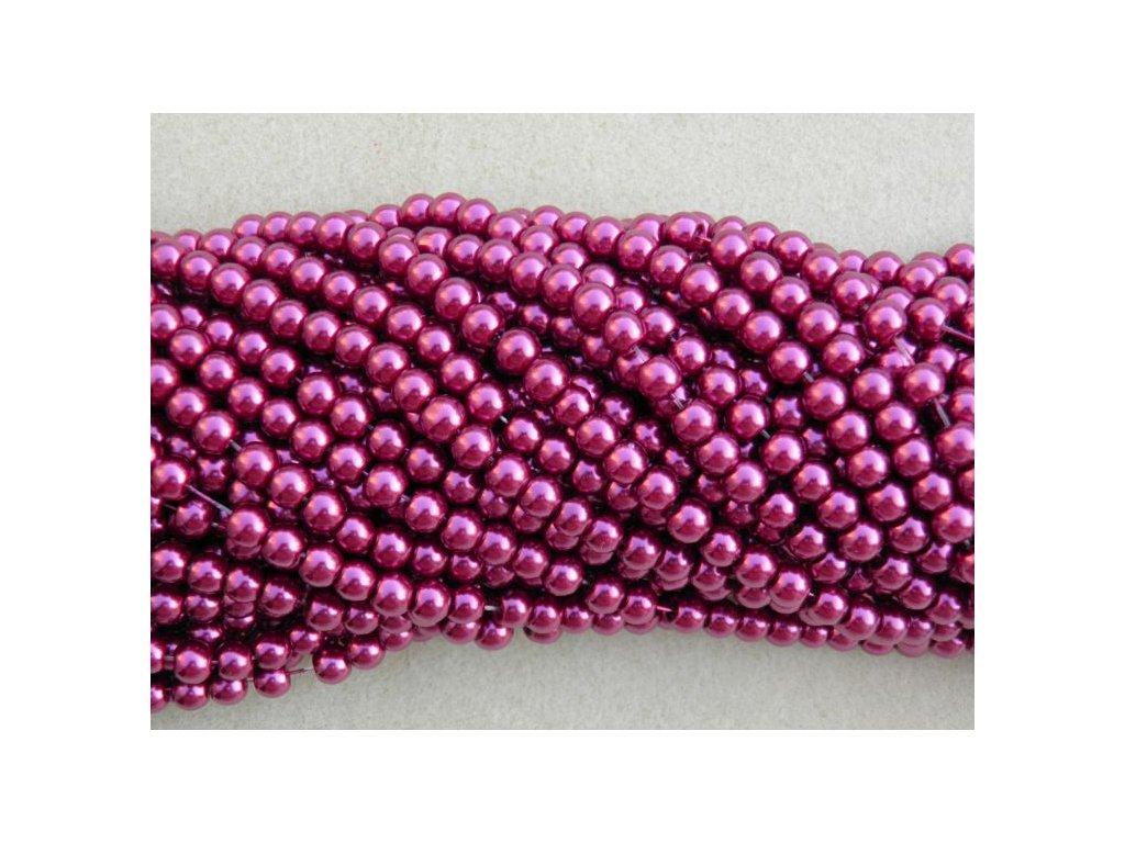 Korálky - voskované perle 4 mm vínová (DOVOZ)