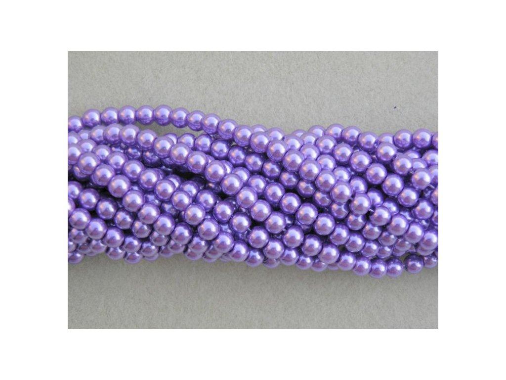 Korálky - voskované perle 4 mm fialová (DOVOZ)