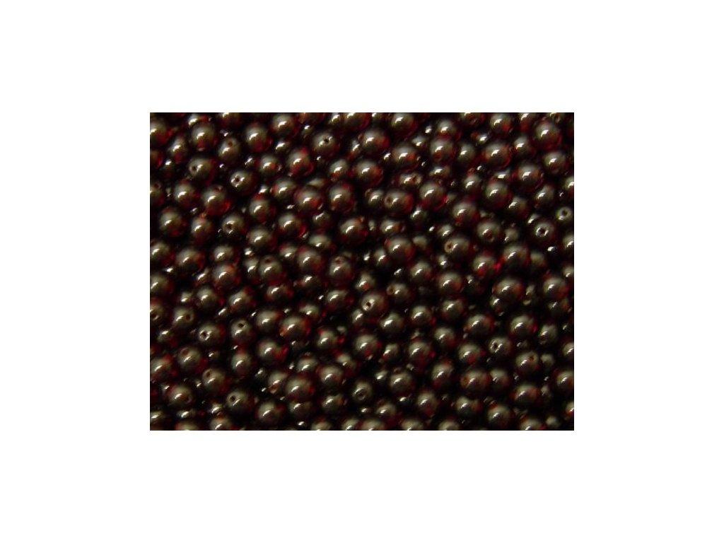 Korálky mačkané - kulička 3 mm - 90100 tmavě červená
