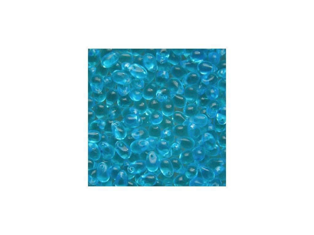 Korálky mačkané - kapka 4/6 mm - 60010 modrá aqua