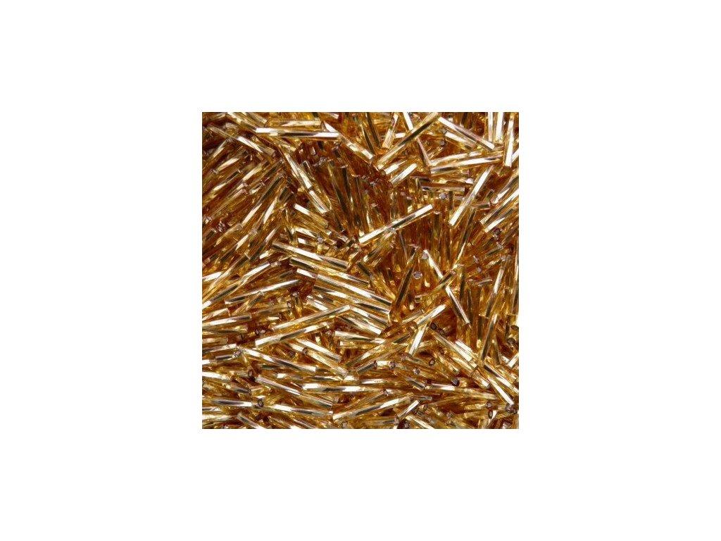Korálky - rokajlové tyčky 30 mm - zlaté točené 17070 (T36) 50 ks