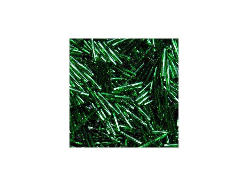 Korálky - rokajlové tyčky 30 mm - zelené točené 57060 (T47)