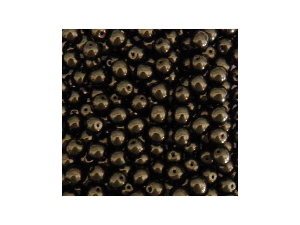 Korálky mačkané - kulička 4 mm - 23980 černá - 20 ks