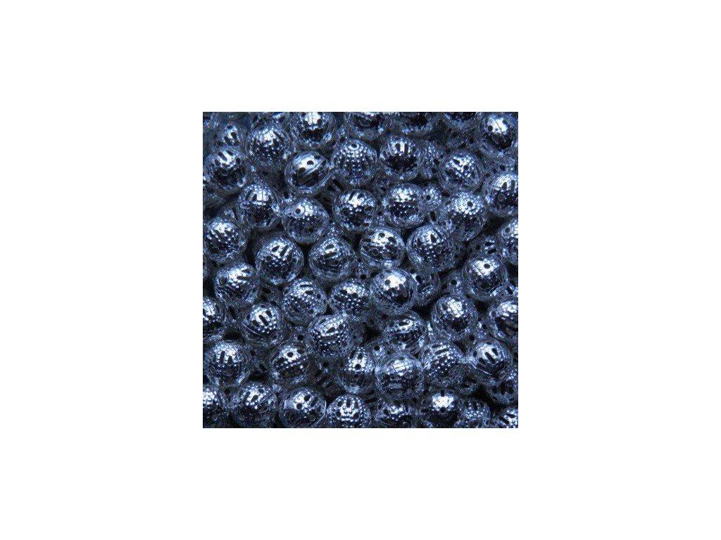 Bižuterní komponenty - ozdobná mezikulička stříbrná 8 mm - 50 ks