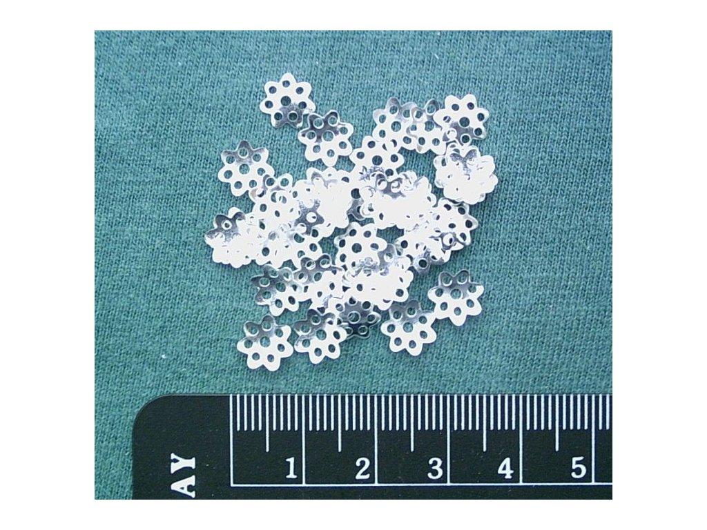 Bižuterní komponenty - kaplík jednoduchý stříbrný 8 mm