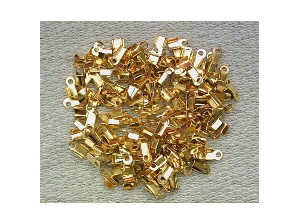 Bižuterní komponenty - koncovka na kůži zlatá 3 mm