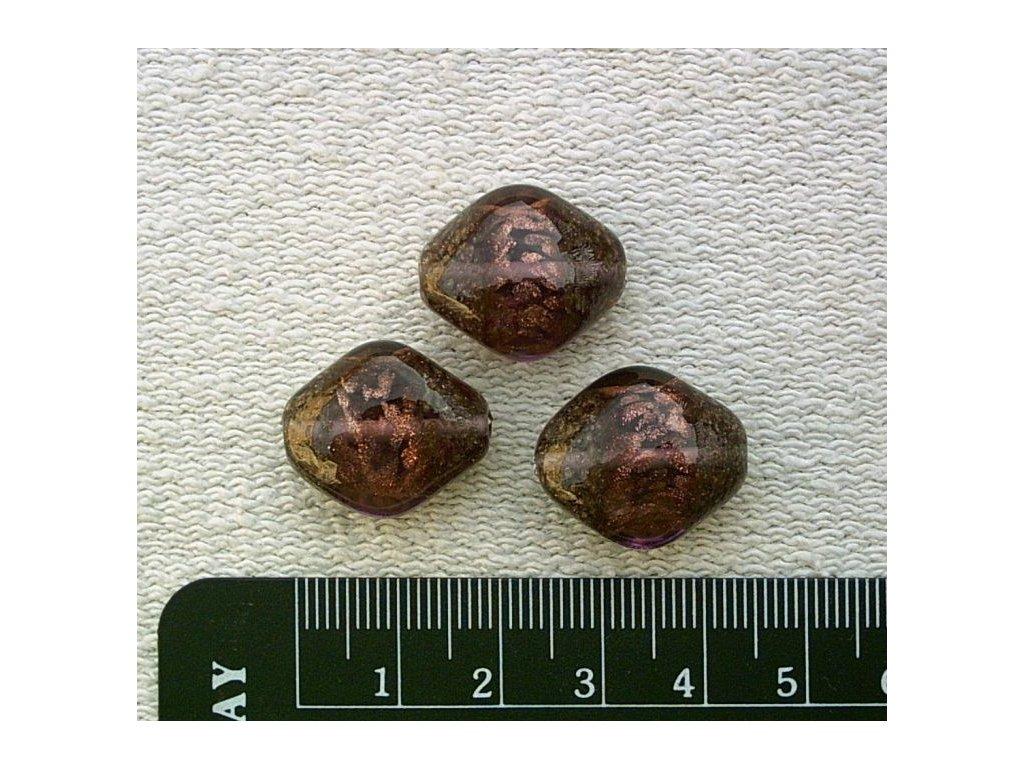 Kosočtverec oblý - zlatý melír v růžovém skle 20 mm