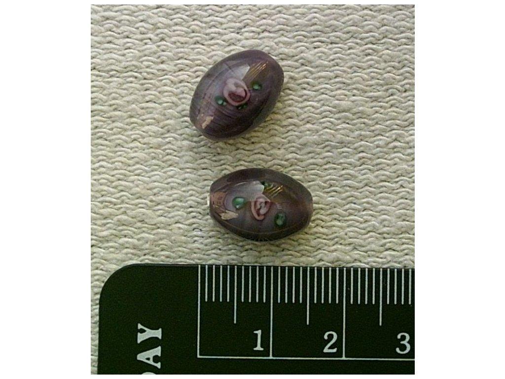 Vinutý korálek - oliva perleťově tmavě fialová 14 mm