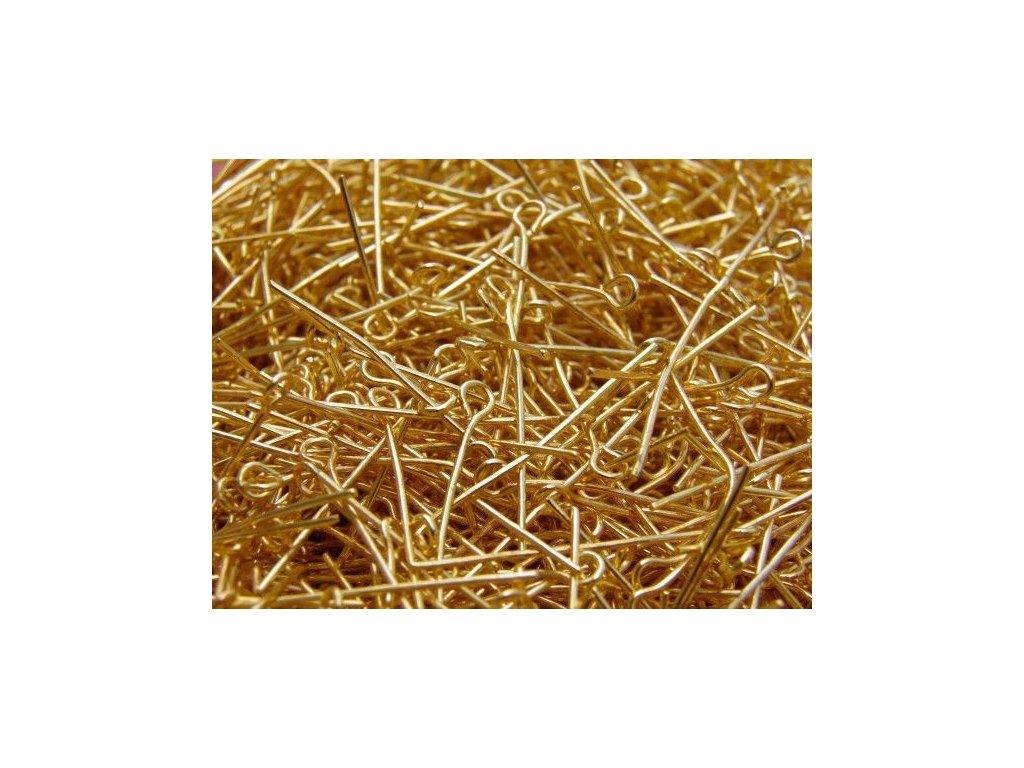 Ketlovací jehla zlatá 30 mm - 2. jakost