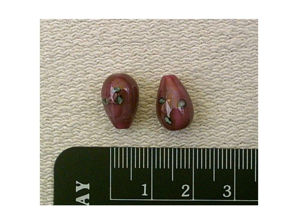 Vinutý korálek - hruška perleťová tmavě růžová 12 mm