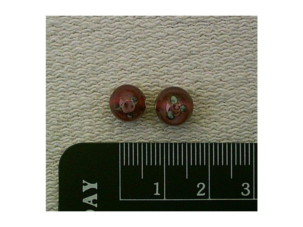 Vinutá kulička tmavě růžová s růžičkami 8 mm
