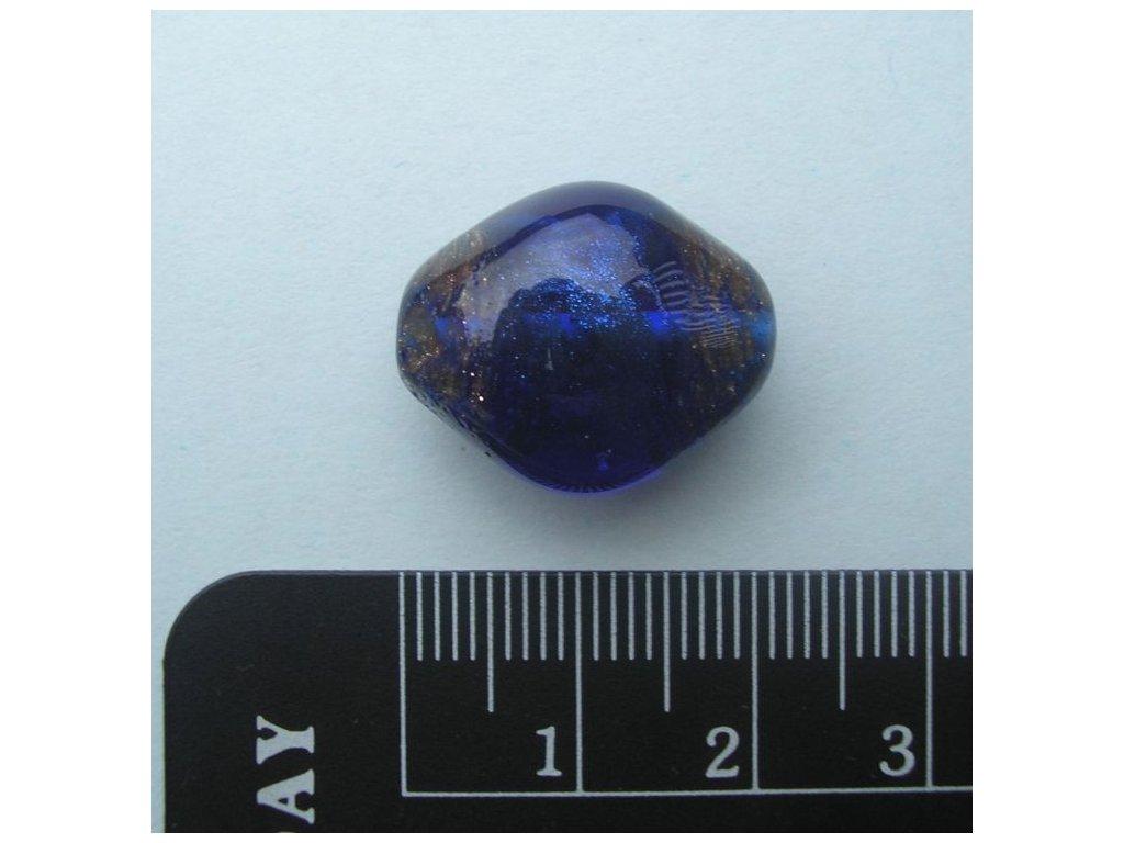 Kosočtverec oblý - zlatý melír v modrém skle 20 mm