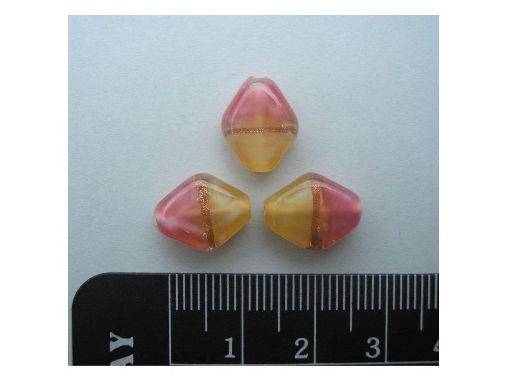 Kosočtverec oblý - růžovo-žlutý 12 mm