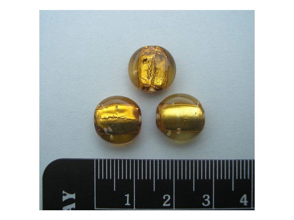 Placička se zataveným stříbrem žlutá 12 mm