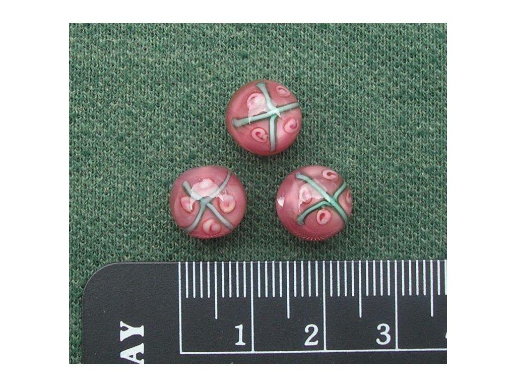 Vinutá kulička růžová s růžičkami 10 mm
