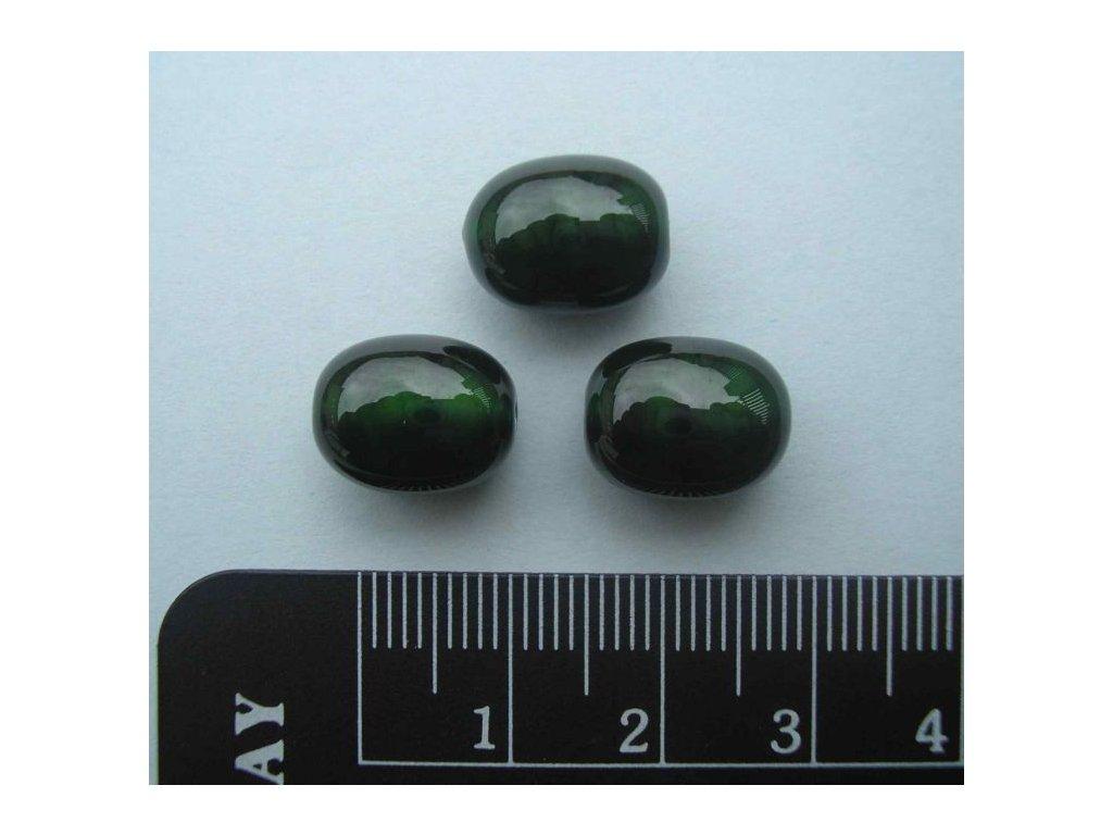 Vinutá perla - oblázek malý tmavě zelený