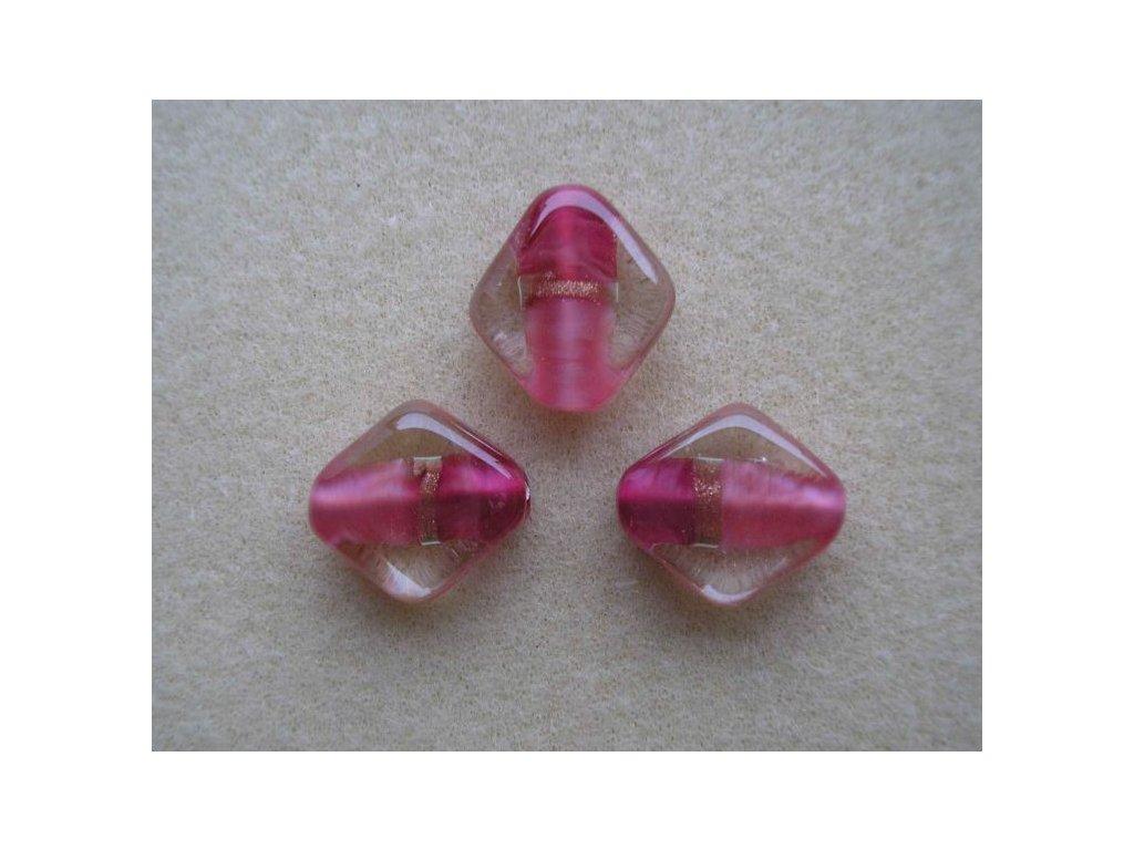 Kosočtverec oblý - uvnitř krystalu růžový váleček 18 mm
