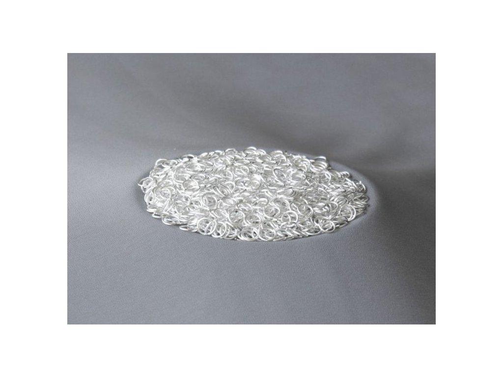 Bižuterní komponenty - spojovací kroužek stříbrný 5 mm - 4 gr.