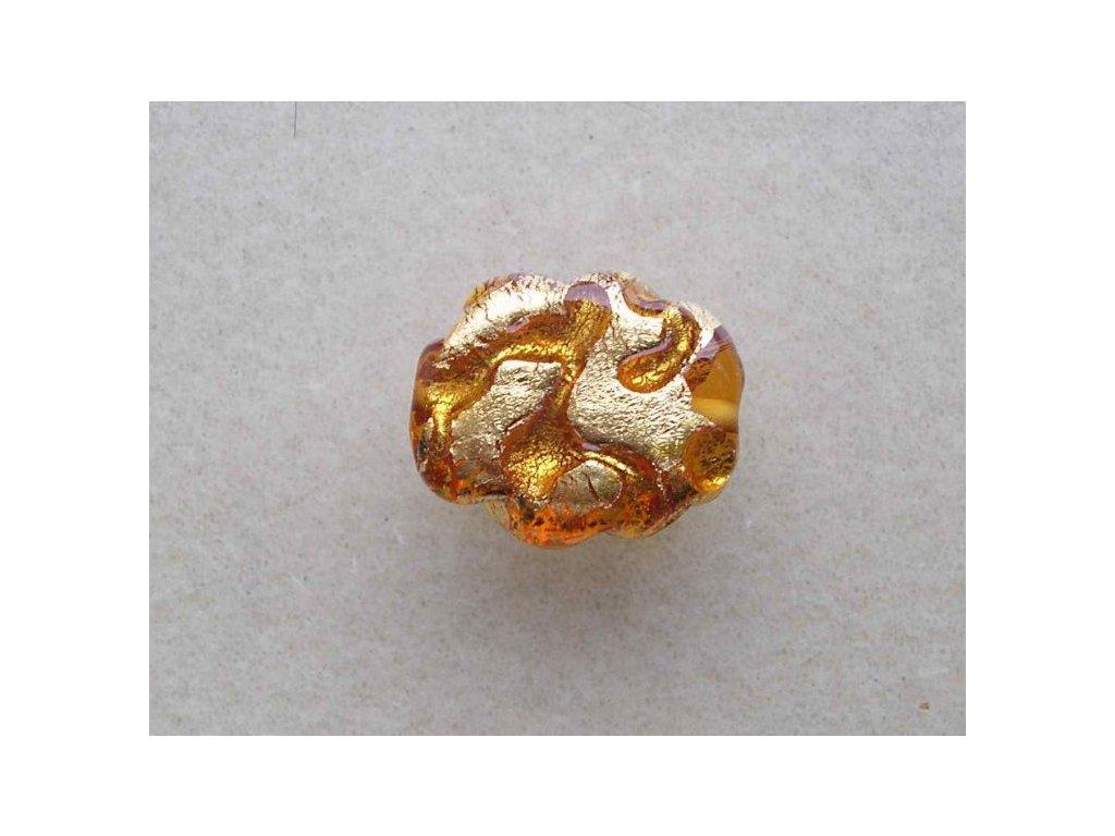 Obláček - žlutý zdobený pravým zlatem