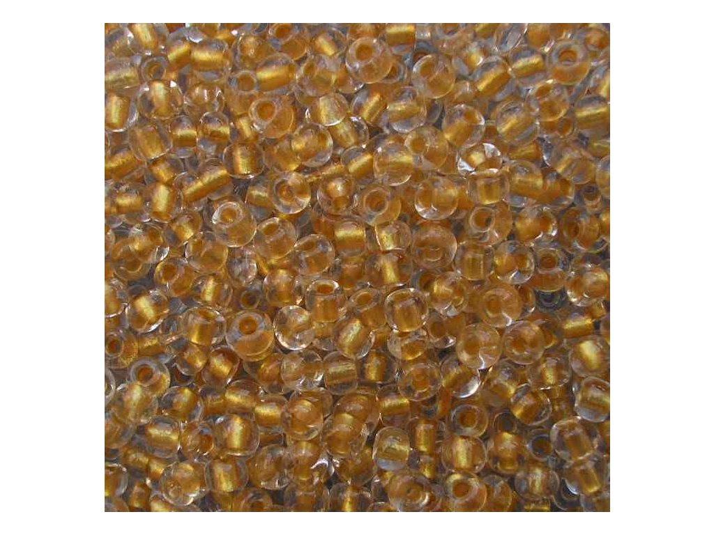 Korálky - rokajlové perličky krystal se žlutým průtahem 5/0