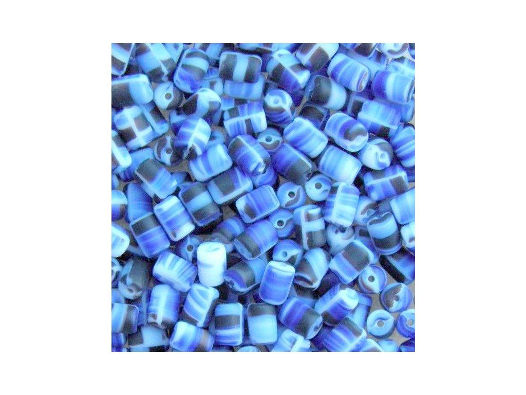 Korálky mačkané - MK15 - váleček žíhaný modro-černo-bílý