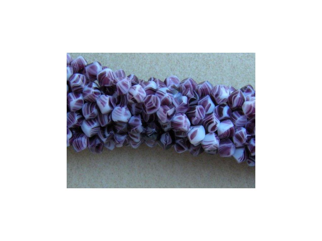 Korálky mačkané - MK19 - pyramidka mžírovaná fialovo-bílá