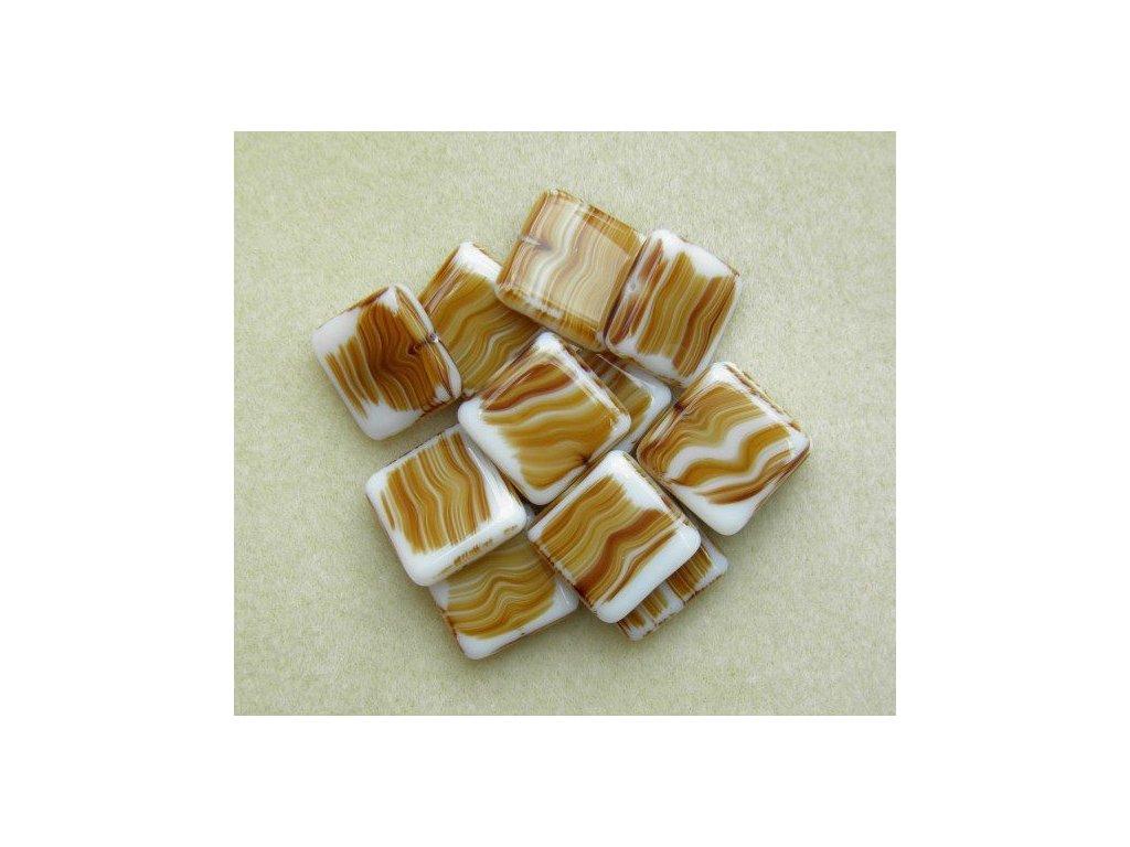 Korálky mačkané - MKL020 - bílý čtvereček s hnědým mžírováním