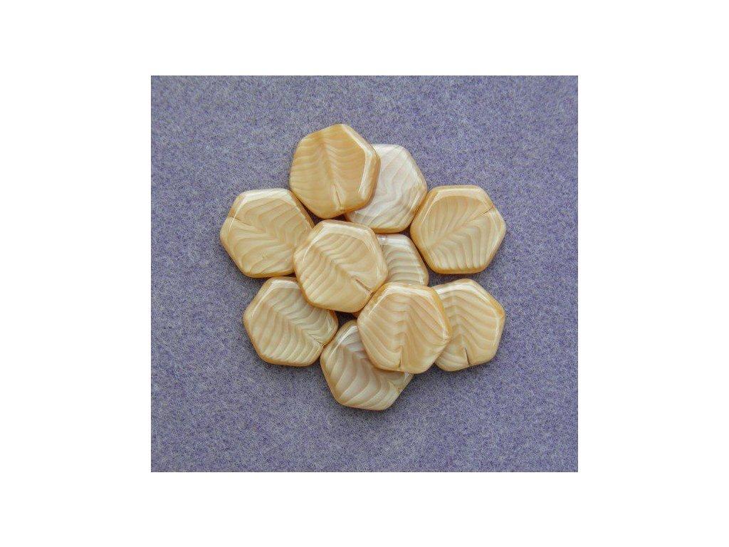 Korálky mačkané - MKL024 - šestiúhelník hnědý